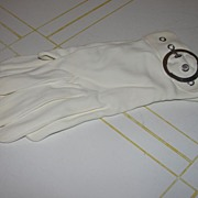 Swinging 60's White Gloves with Silver Buckles