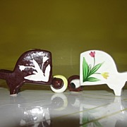 Brown and White Wheelbarrow Salt and Pepper Shakers