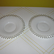 Czech Milk glass with Clear ruffle Plates