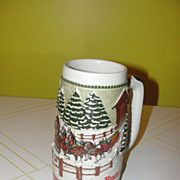 Team and Wagon with Covered Bridge 1984 Budweiser Stein