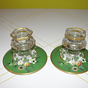 Flower Painted Glass Candleholders