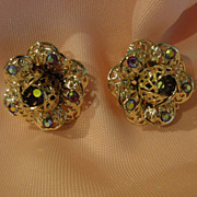 SALE PENDING Sarah Coventry Fancy filigree Aurora borealis Clip-on Earrings - Free shipping