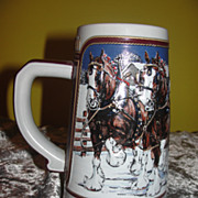 Budweiser 1989 ''Hitch on a Winter's Evening'' Ceramarte Beer Stein