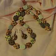 Lots of dots Necklace and J-hook Earrings - Free shipping