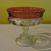 Ruby Flashed Thumbprint King's Crown Footed Compote/candy Dish