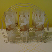 LIbbey Cavalcade Frosted Glasses with Horses in White Metal Caddy/carrier