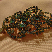 Blue, Aqua and Clear Rhinestone Brooch/pin - Free shipping