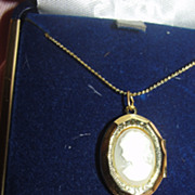 Sweetheart Locket with Cameo on Chain - Free Shipping