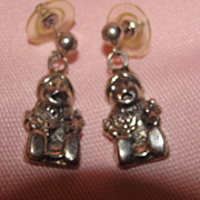 Funny Little Fellows Silver Pierced Ear earrings - Free shipping