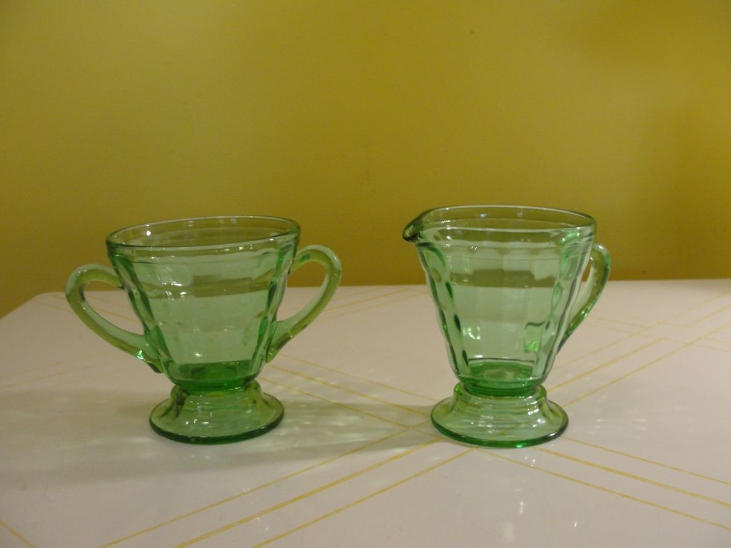 Tapered Green Glass Creamer and Sugar