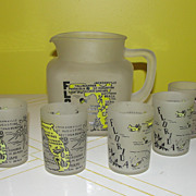 Florida the Sunshine state ''Star'' Pitcher w/6 juice Glasses