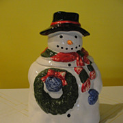 Snowman with Wreath Cookie Jar