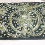 Hand Embroidered Black Velvet Clutch Bag Made in India