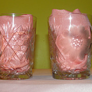 Flowers Cut in Glass Tumblers