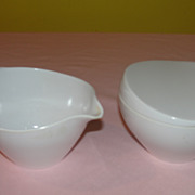White Prolon Melmac/Melamine Creamer and Sugar Bowl