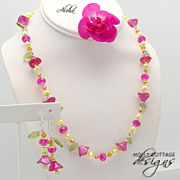 SALE Artisan crafted necklace & earring set - bright colors