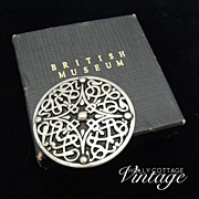 Vintage British Museum Celtic pewter brooch