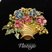 SALE Vintage flower basket brooch