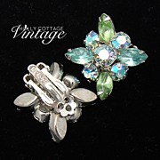 Vintage Weiss blue and green rhinestone clip earrings