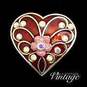 SALE Vintage red enameled heart brooch
