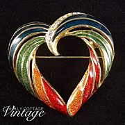 SOLD Enameled rainbow heart brooch