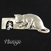 SALE Vintage pewter cat & mouse pin