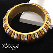 Vintage 3-toned metal bangle bracelet