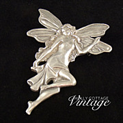 SALE Vintage pewter art deco style fairy brooch