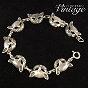 SOLD Vintage sterling silver cat bracelet