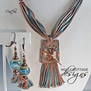 SOLD Artisan crafted copper pendant on hand-dyed silk necklace with earrings