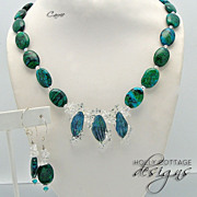 Malachite/Azurite necklace with lampwork centerpiece & earrings