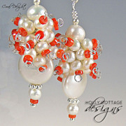 Cultured pearl and coral earrings
