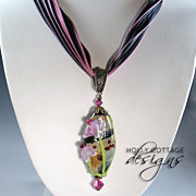 SOLD Artisan crafted silk necklace with lampwork pendant & earrings