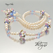 SOLD Artisan crafted cultured pearl, floral lampwork and crystal set