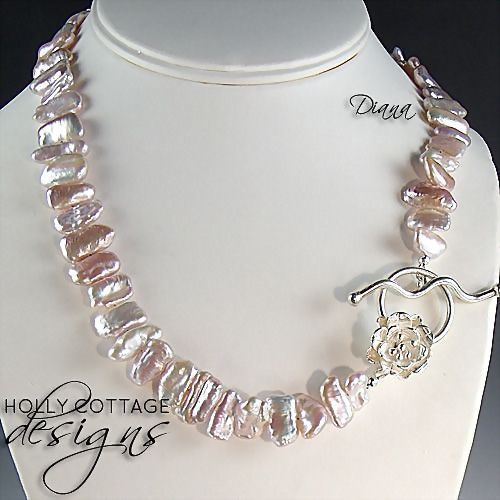 Pink cultured Biwa pearl necklace with earrings