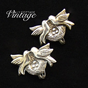 Vintage earrings - sterling silver lovebirds on a nest