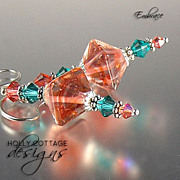 Artisan crafted lampwork and crystal earrings - coral and turquoise colors