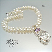 Artisan crafted white topaz and amethyst pendant on cultured pearl necklace
