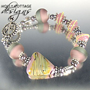Artisan crafted lampwork bead bracelet in pink and grey