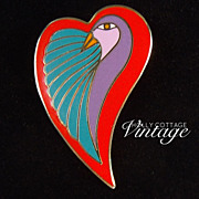 SALE Vintage Laurel Burch heart pin