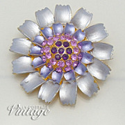 SALE Vintage lavender enameled flower brooch