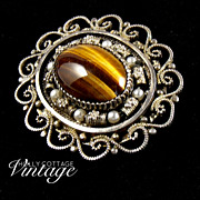 SALE Vintage sterling silver and tiger eye brooch/pendant