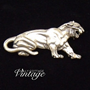 SALE Vintage sterling silver lion pin