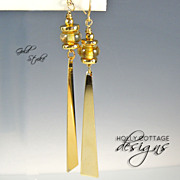 Artisan crafted gold plate and lampwork earrings