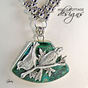 SOLD Artisan crafted necklace with Malachite pendant