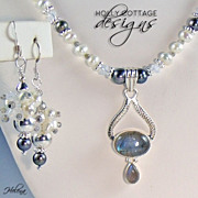 SOLD Artisan crafted cultured pearl necklace with Labradorite pendant