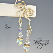 SOLD Artisan crafted Swarovski crystal earrings