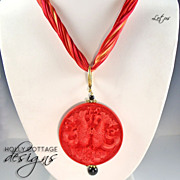 SALE Artisan crafted silk necklace with pendant