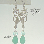 SOLD Artisan crafted Amazonite and crystal earrings