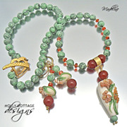 Artisan crafted lampwork, green howlite and carnelian necklace and earrings